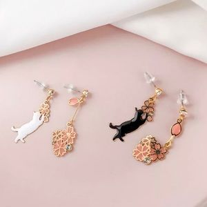 3️⃣@$30 Cat Flower Crystal Stud Drop Earrings